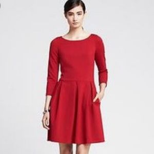 Banana Republic 3/4 sleeve red fit and flare dress